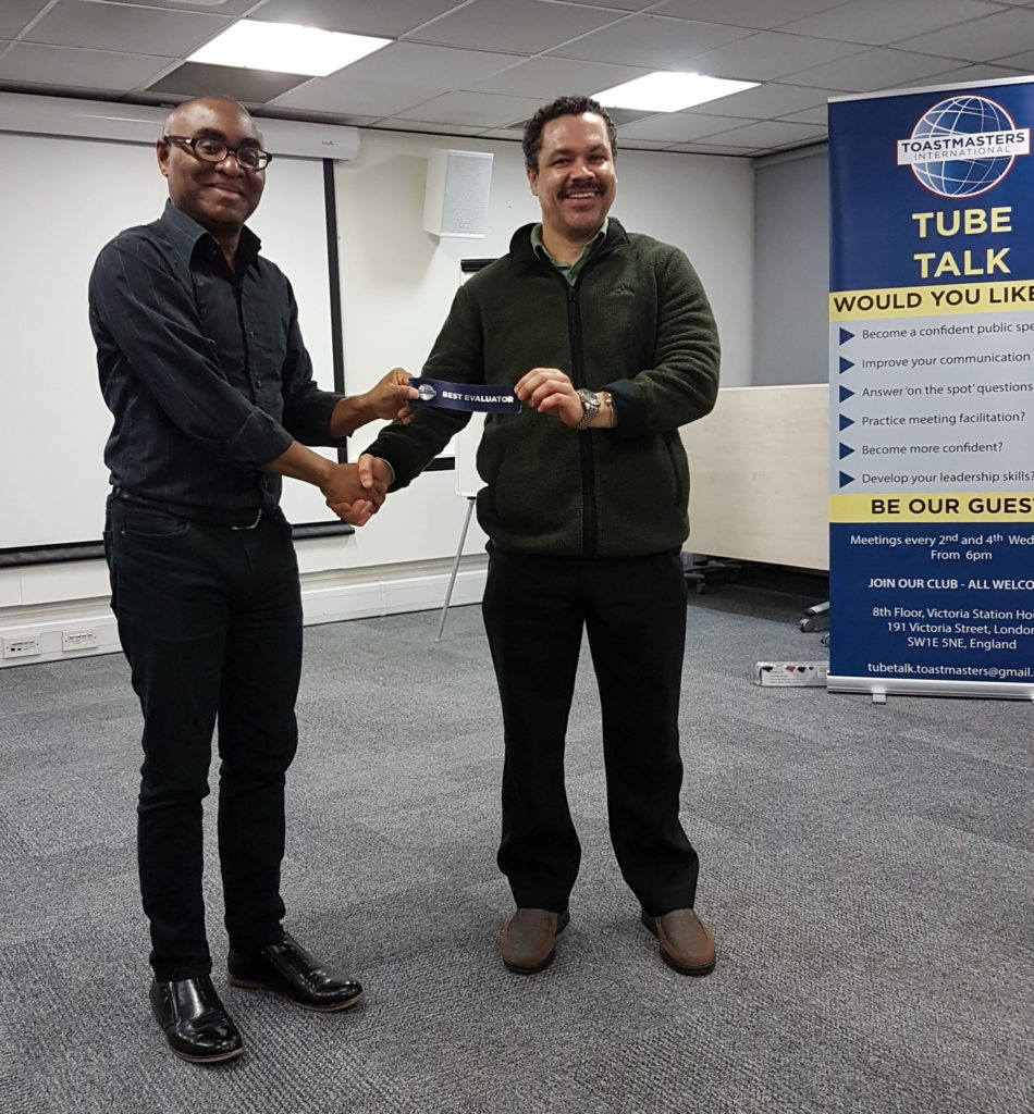 Tube Talk Toastmasters Club in London - presenting an award