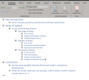 Using MS Word Outline view for a speech outline.